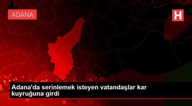 Adana'da serinlemek isteyen vatandaşlar kar kuyruğuna girdi
